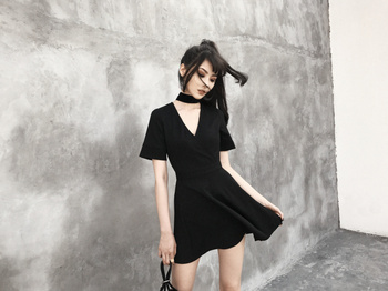 Fashion Summer Gothic Dresses For Women Backless Deep V Neck Sexy Vestidos Short Sleeve Black Dress 1