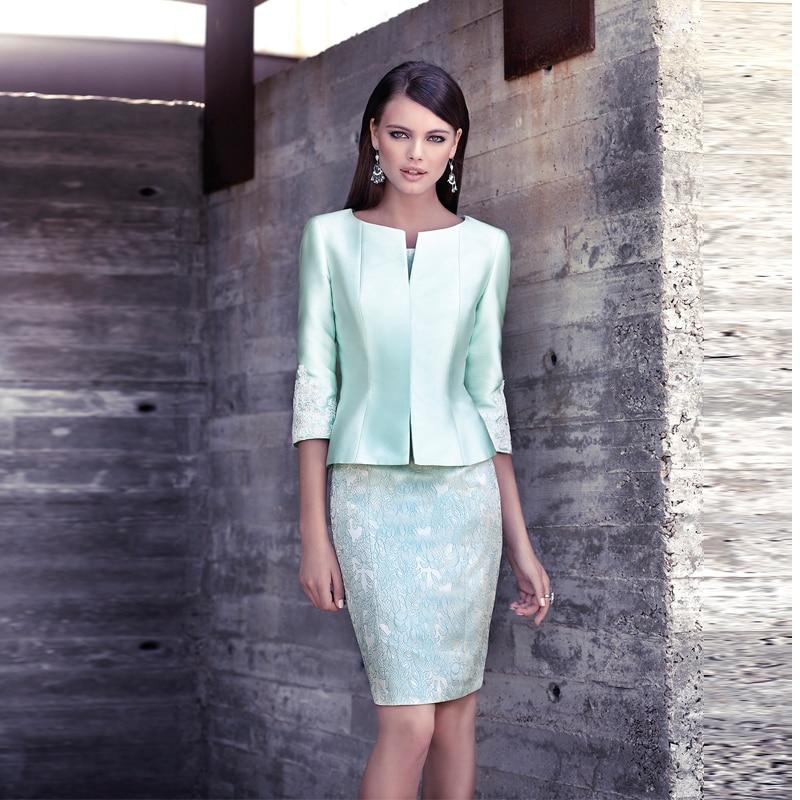 Classic light green short lace mother of bride dresses Suits Knee Length prom dresses vestidos para mama de la novia MBD64
