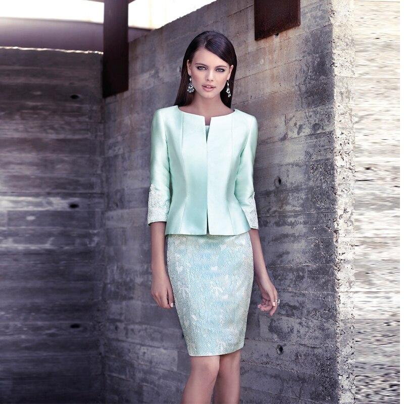 Classic Light Green Short Lace Mother Of Bride Dresses Suits Knee-Length Prom Dresses Vestidos Para Mama De La Novia MBD64