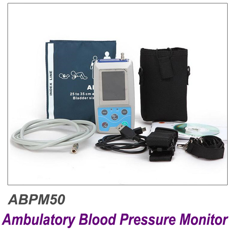 ABPM50 CE FDA Approved 24 hours Patient Monitor Ambulatory Automatic Blood Pressure NIBP Holter with USB cable & software 2018 new abpm50 24 hours ambulatory blood pressure monitor nibp holter pc holter abpm holter bp monitor with software