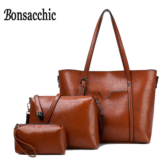 8f3102159ea Bonsacchic Brown Women Leather Handbags Set Luxury Handbags Women Bags  Designer Crossbody Bags for Women 2018
