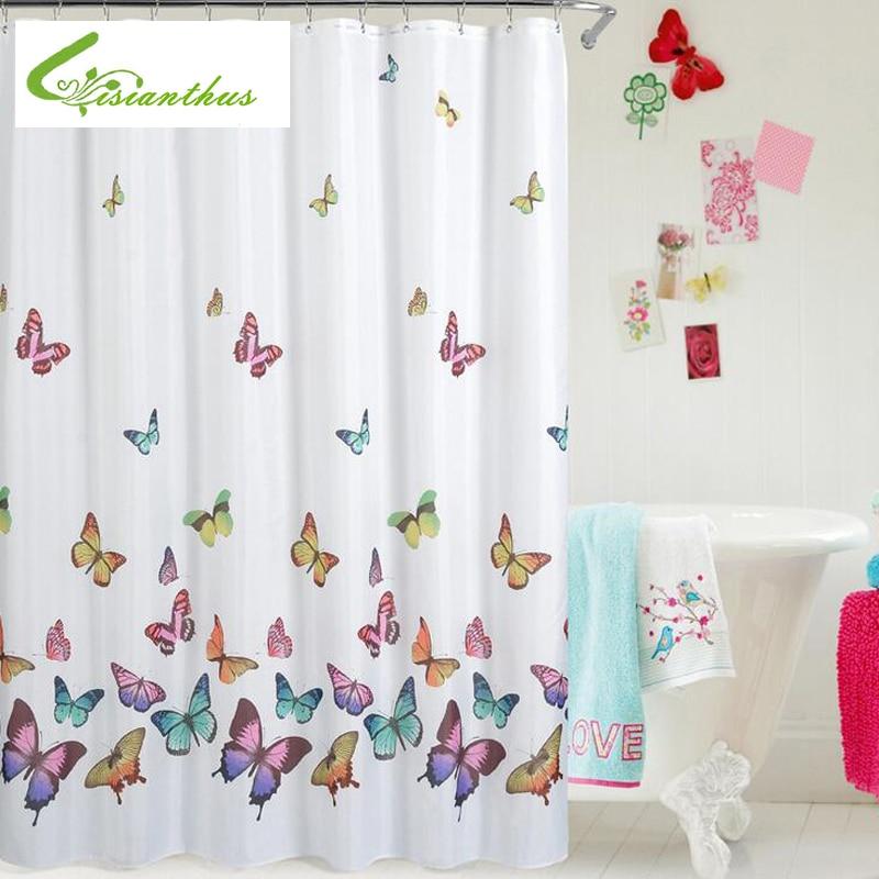 Pillangó nyomtatás zuhanyfüggöny Vízálló penészes poliészter szövet fürdőszobai függöny 180cm * 180cm 2019 legújabb egyszerű design