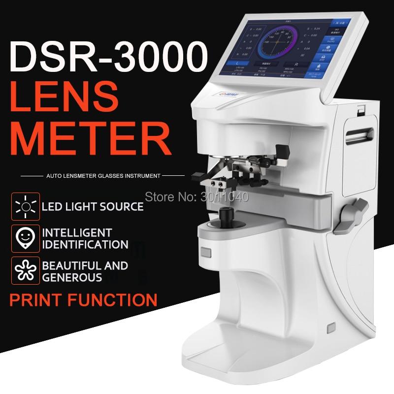 Auto lensmeter lensometer Digital DSR3000Optical lente focômetro Automático medidor de 7 polegada tela de toque PD UV Impressão