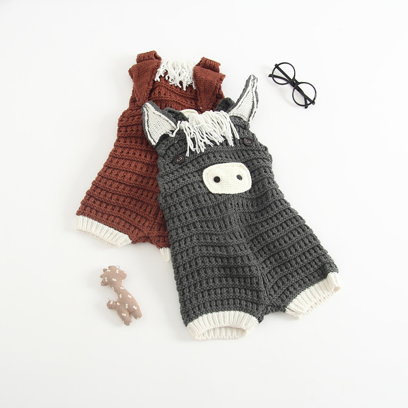Newborn Baby Cotton Rompers Knitting Crochet Pig Costumes Overalls Clothes For Toddler Infant Boys Girls Jumpsuits Clothing
