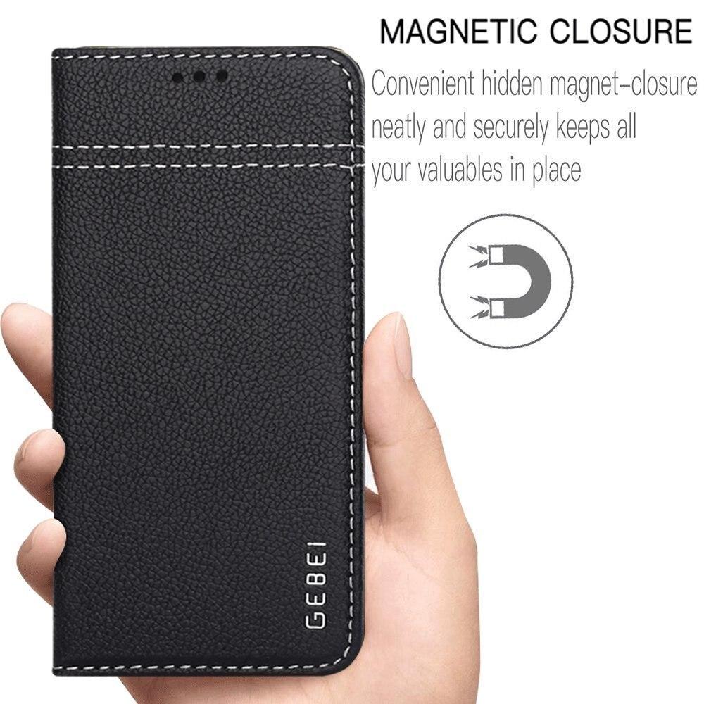 imágenes para Borde GEBEI Caja Del Cuero Genuino para Samsung Galaxy S7 S7 Caso Cubierta de la Carpeta Del Tirón Del Libro Magnético S7edge Ranuras de Tarjetas y Soporte costura