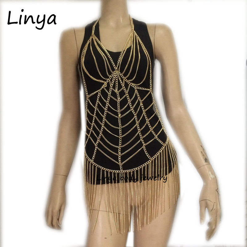BC-474 Sexy Fashion Body Harness Necklace Chain Halter Bra Lingerie Checker Exotic Dress Showgirl Jewelry ladder cut out halter bra