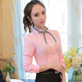 O-Neck collar Full sleeve women bow tie blouse Solid Pink shirt female casual style elegant fashion slim tops Autumn wear