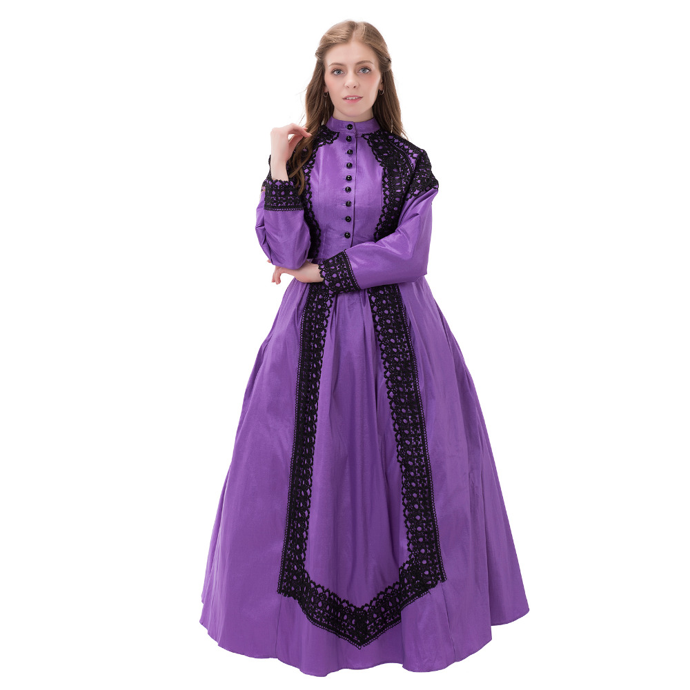 Civil War Victorian 19th Century Day Dress Gown with Antique Black Lace Medieval Renaissance Wedding Dress Ball Gown Costume