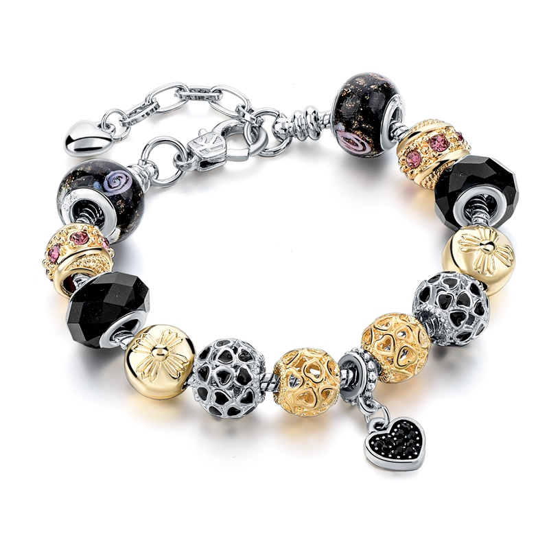 5a6cf2a70 Crystal Heart Charm Bracelet For Women 2017 Black Glass Beads Bracelets  Bangles Friendship Pulseiras SBR160164-in Charm Bracelets from Jewelry &  Accessories ...