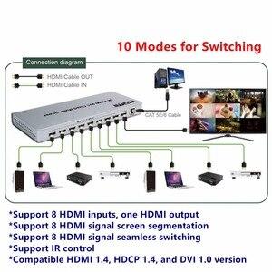 Image 4 - 4K HDMI 8x1 multi viewer commutateur adaptateur 8xhdmi sur 1 écran, connecteur femelle IR contrôle diviseur convètre pour CCTV HDTV