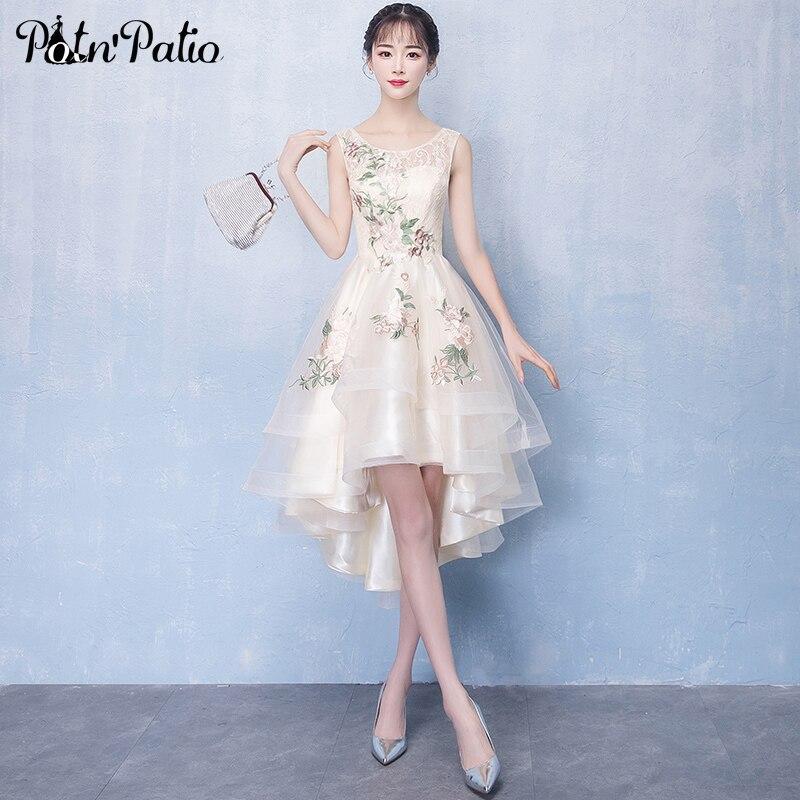 Lace High Low   Prom     Dresses   2019 Plus Size Elegant O-neck Sleeveless Champagne Short   Dresses   For Graduation