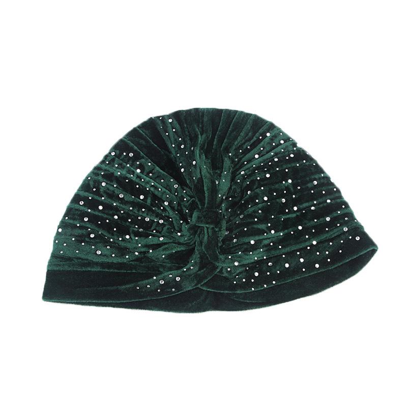Us 166 51 Offhelisopus 2019 Women Rhinestone Velvet Turban Elastic Twist Headband Fashion Solid Color Ladies Elegant Hijab Hair Accessories In