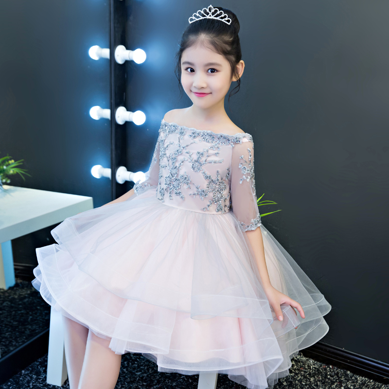 Luxury Girls Kids Princess Lace Birthday Party Dress Wedding Gowns for Children Graduation Ceremony Baby Kids Tail Wear Dress 2017 new high quality girls children white color princess dress kids baby birthday wedding party lace dress with bow knot design