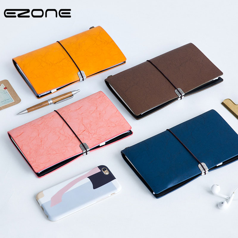 EZONE Creative Notebook Candy Color Bandage Note Book Vintage PU Blank Cover Notepad Traveler Journey Memo School Office Supply ruize soft cover leather traveler notebook blank kraft paper note book a7 a6 creative travel journal diary school supplies