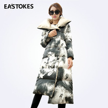 Фотография Floral Print Women Fashion Long Coats  Pillow Collar Ladies Jackets Single Breasted Winter Quilted Parkas Female Outerwears