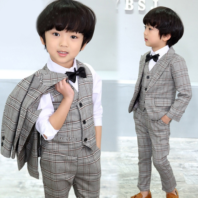 4 Pcs Kids Boy Tuxedo Wedding Formal Dress Stripes Grid Blazer Jacket+Pants Vest Bow tie Suit Boys Outfits Size for 3-8 Yrs grid carrot pants