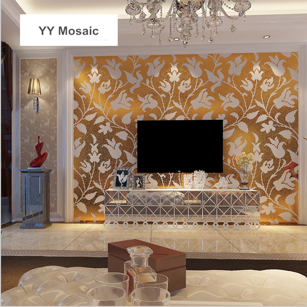 Customized White Flower Gold Crystal Glass Puzzle Art Mosaic Tile For Wardrobe Bathroom Hotel Entrance Backdrop Yy-233 100% Original