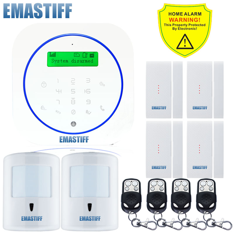 Free shipping.Wireless 10KG Pet friendly PIR 4PCS upgrade Door Gap GSM Home Burglar Alarm safe system LCD Display with Android w1 wifi pstn burglar alarm for home villa super safe anti theft pet friendly pir alarm system
