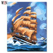 Boat Sailing Abstract  Painting By Numbers On Canvas DIY Unique Digital Home Decor Coloring Picture Christmas Gift