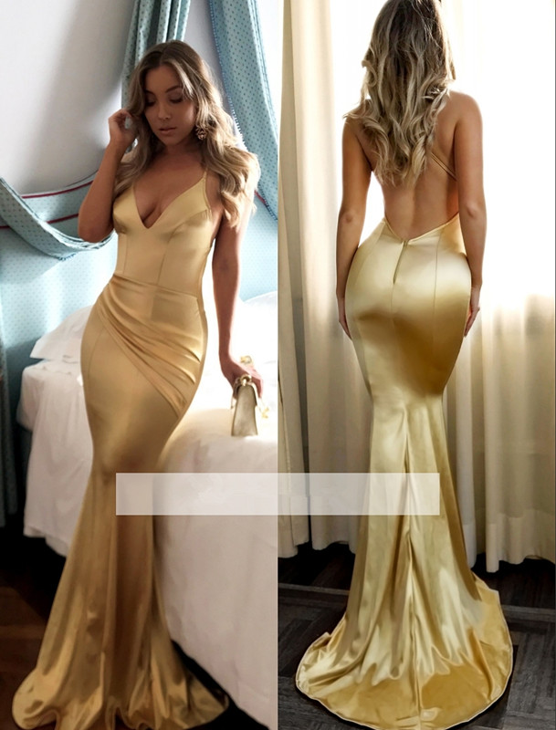 Gold 2019   Prom     Dresses   Mermaid Spaghetti Straps V-neck Backless Sexy Party Maxys Long   Prom   Gown Evening   Dresses   Robe De Soiree