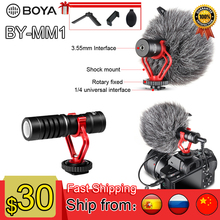 BOYA BY-MM1 Microphone Compact On-Camera Recording Metal Electric Condensor Video Mic for Canon Nikon Sony DJI Osmo DSLR Camera boya by mm1 camera video microphone shotgun mic for zhiyun smooth 4 dji osmo dslr camera iphone 7 6 andriod smartphone