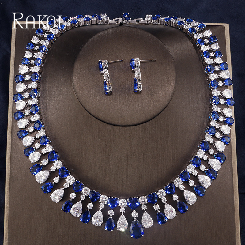 RAKOL 2018 New Wedding Costume Accessories Heart Shape Cubic Zircon Crystal Bridal Earrings And Rhinestone Necklace Jewelry Set floral shape rhinestone earrings