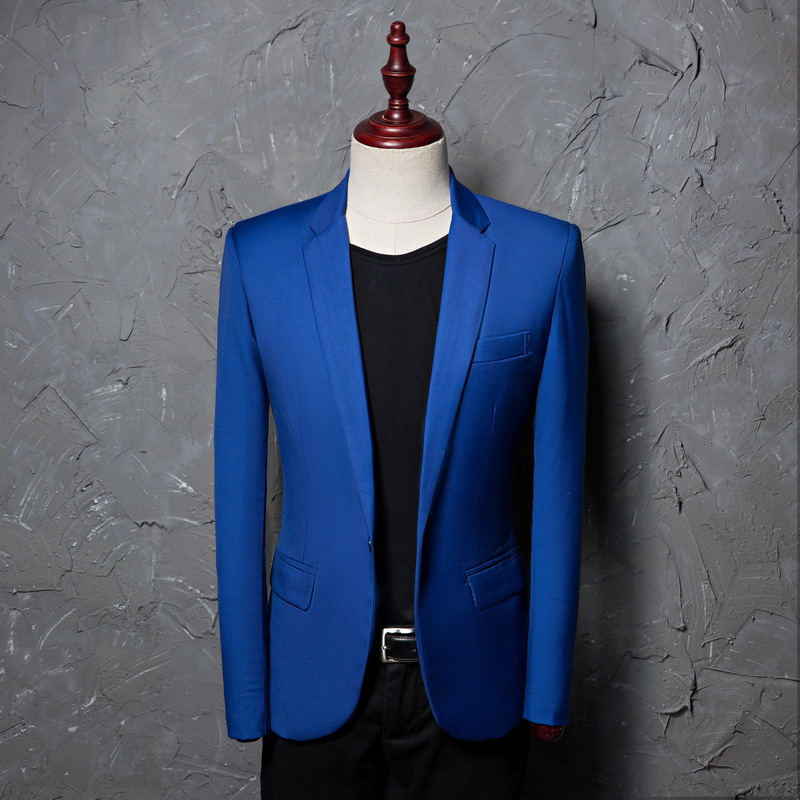 Royal Blue Suit Blazer Men 2018 Brand New Notched Lapel Single Breasted Suit Jacket College Student Suits Blazers Costume Homme