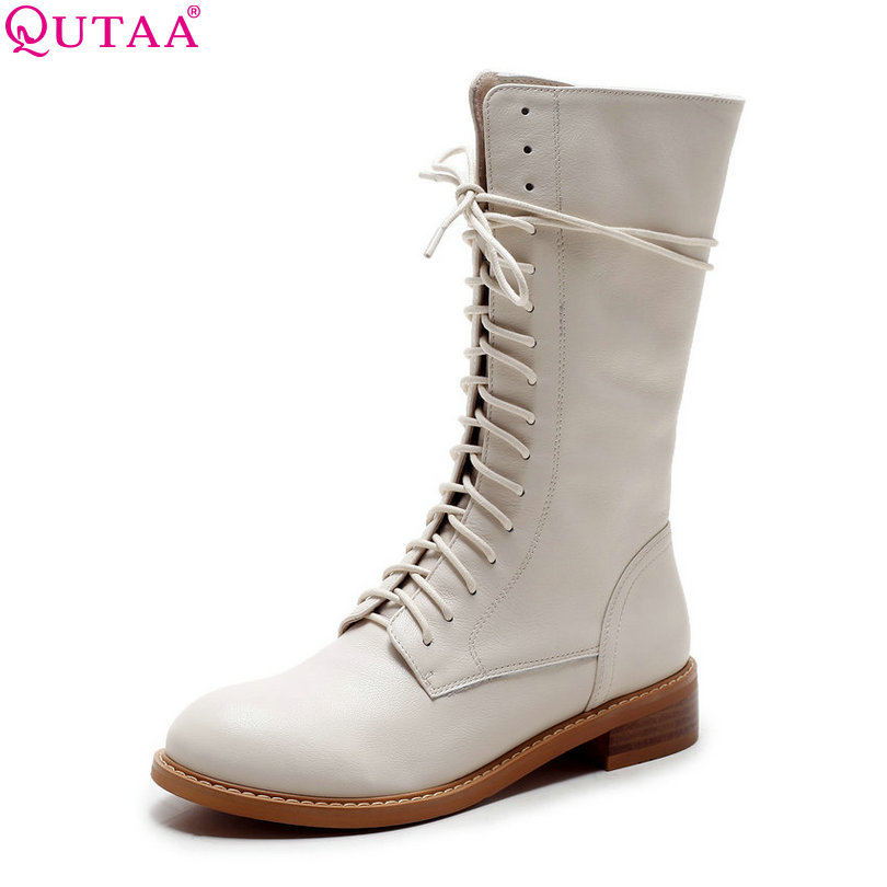 QUTAA 2016 Genuine Leather Women Shoes Square Low Heel Mid Calf Boot Lace Up Round Toe