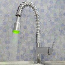 Jmkws полированный светодиодные Кухня кран Контроль температуры Цвет вода, раковина, смеситель вытащить Смесители для ванной комнаты коснитесь один hndle