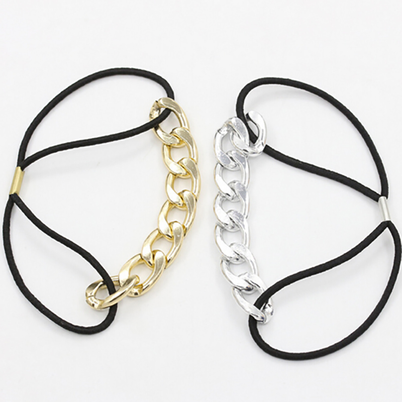 Fashion Europe and America style high quality Metal chain hair rope for women