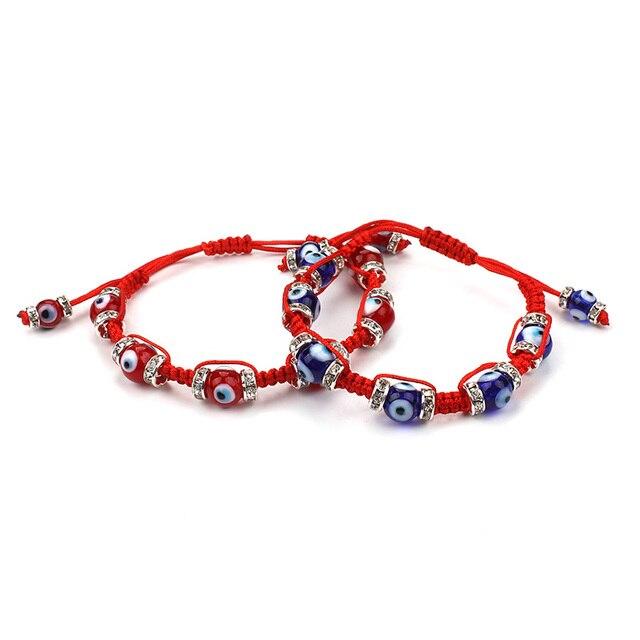 2017 Handmade Jewelry Evil Eye Beads Bracelet Red String Rope Braided For Women Men Adjule