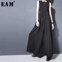 [EAM] 2018 New Autumn winter Strapless Black Brief Button Loose Long Wide Leg Long Pants Women Overalls Fashion Tide JF913