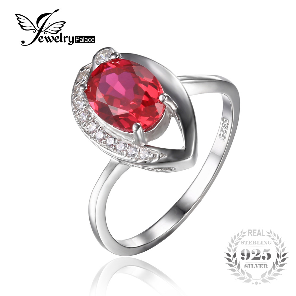 JewelryPalace Eye 1.4ct Created Red Ruby Solitaire Ring ...