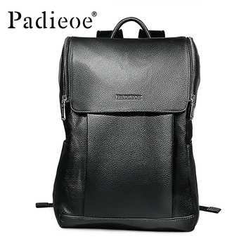 Padieoe 2017 New Design Fashion Casual Unisex Backpack High Quality Genuine Leather Solid Black School Rucksack