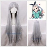 Japanese Anime Blend S Kanzaki Hideri Aus Straight Long Silver gray Cosplay Wig Halloween Role Play