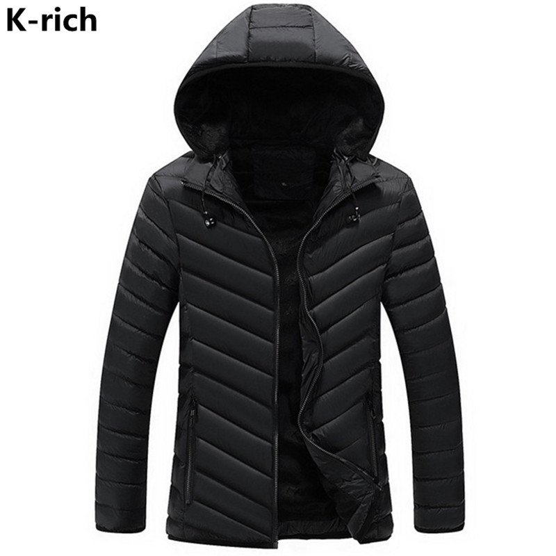 K-rich 2017 Winter Man Jacket Parka Coat Casual Hooded Solid Striped Wadded Jackets For Male L-3XL Plus Size Black Dark Blue a1 cam мойка кухонная сафари lava