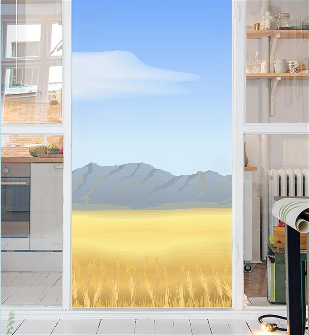 Do It Yourself Home Design: Mountain Scenery DIY Self Adhesive Privacy Office Bathroom