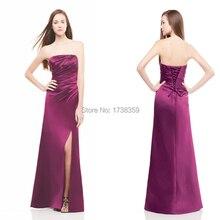 2015 Modern Sleeveless Satin Beaded Pleat Strapless Off The Shoulder Floor Length Long A Line Bridesmaid Dresses Side Slit
