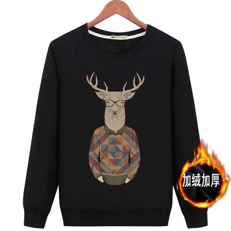 2017 New M-6XL Hot sale funny men Warm Thicken Sweatshirts print hoodies autumn winter h ...