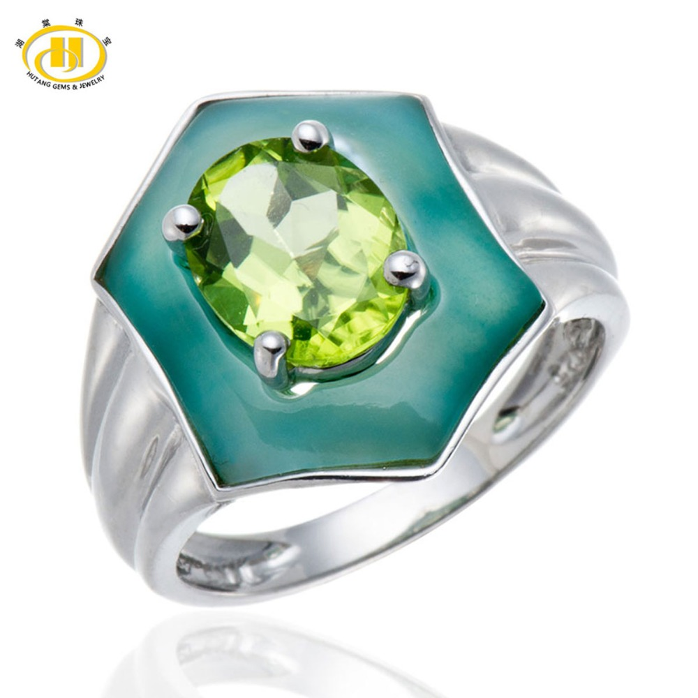 Hutang Natural Oval Peridot Green Mother of Pearl Rings Solid 925 Sterling Silver Ring Fine Gemstone