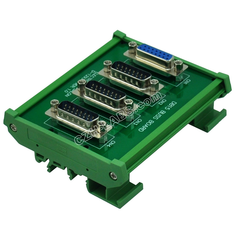 ELECTRONICS-SALON DIN Rail Mount DB15 1 Female 3 Male Buss Board, DB-15 Busboard, D-Sub Bus Board Module.ELECTRONICS-SALON DIN Rail Mount DB15 1 Female 3 Male Buss Board, DB-15 Busboard, D-Sub Bus Board Module.