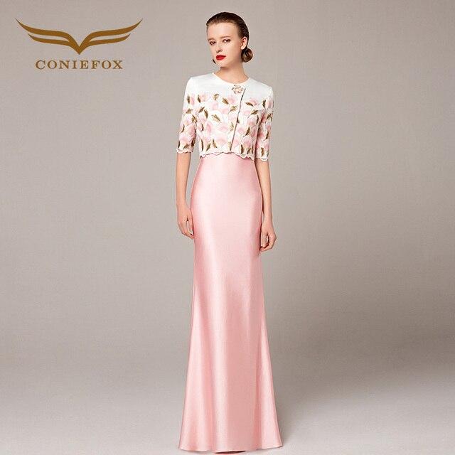 b5872265e Coniefox نصف كم حورية البحر الوردي المناسبات الخاصة فستان سهرة طويل مع سترة  31168
