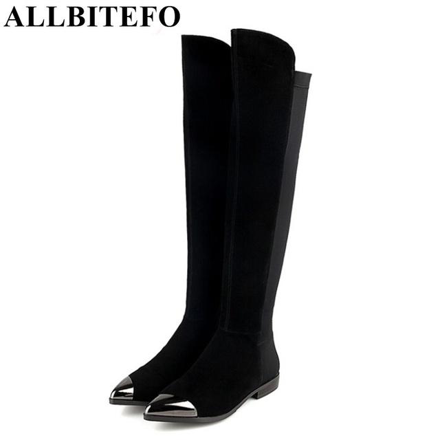 Allbitefo dedo do pé de metal plana calcanhar de couro genuíno da marca sobre o na altura do joelho mulheres botas de inverno quente de outono plataforma pontas do dedo do pé longo botas