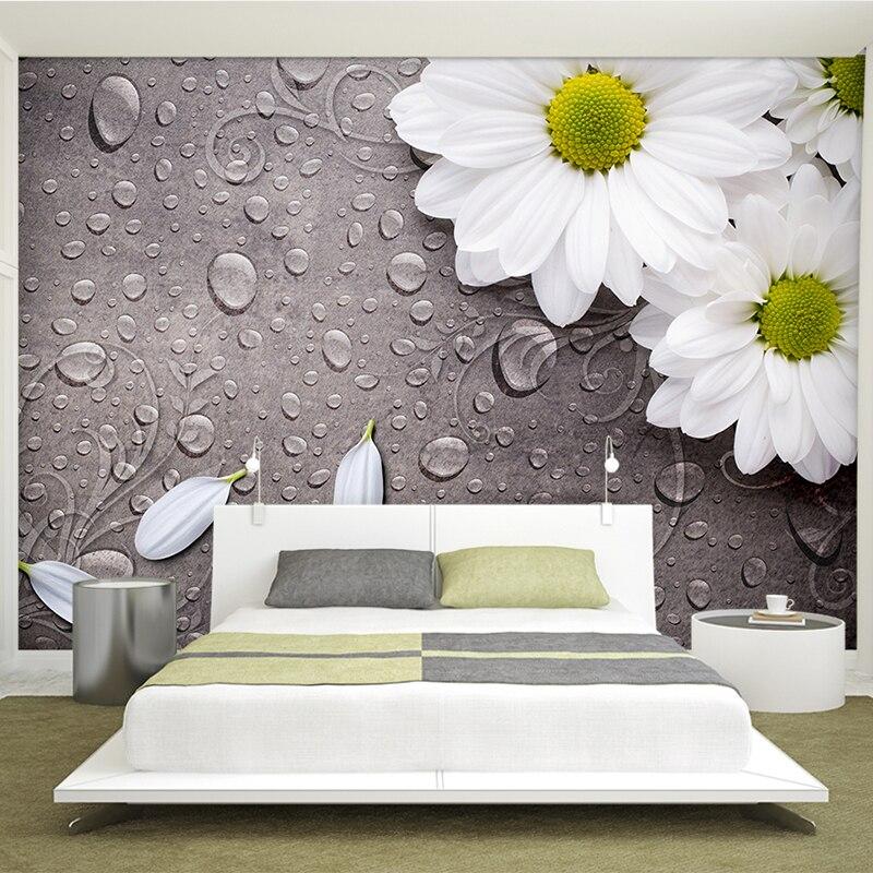 European Style Retro White Flower Water Drop 3D Mural Wallpaper Living Room Bedside Decor Backdrop Wall Non-Woven Wallpaper Roll