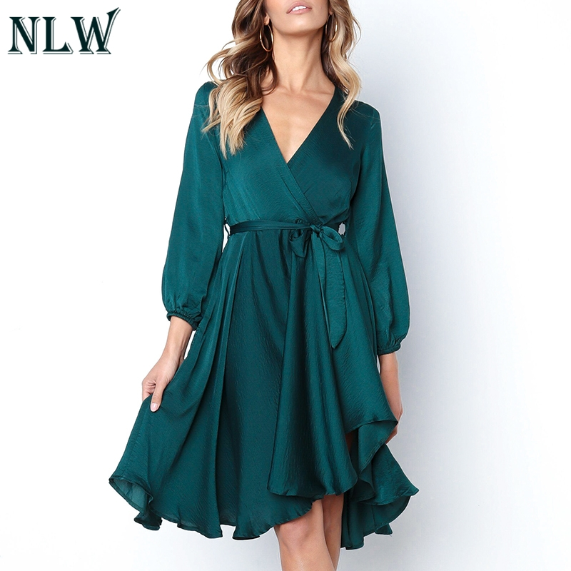 d36b25661d NLW Assimétrico Dividir Cetim Sash Elegante Vestido Midi Vestido Sólida  Mulheres 2019 Outono V Neck Manga Comprida Sexy Vestido Vestidos