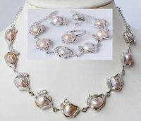 shippingFashion jewellery freshwater pearl necklace bracelet earring ring set (A0423)