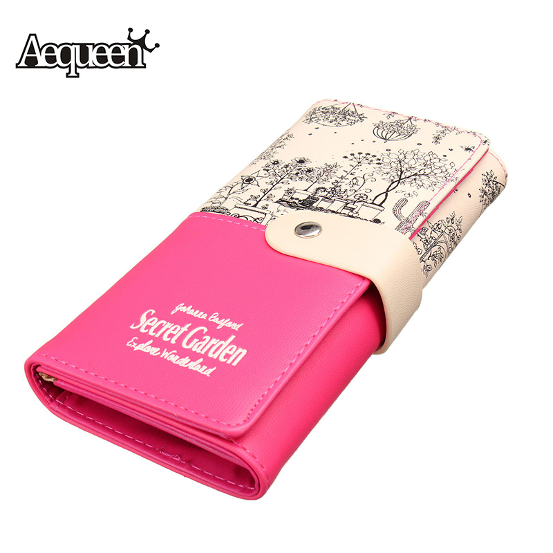AEQUEEN Brand Leather Wallets Women Long Wallet Coin Purses Fashion Flower Purse Lady Pouch Credit Card Holders Clutches