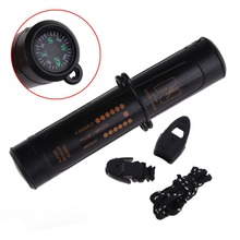 High Quanlity New 10 In 1 Survival Emergency Kit LED Flashlight Compass Flint Whistle Tool H1E1