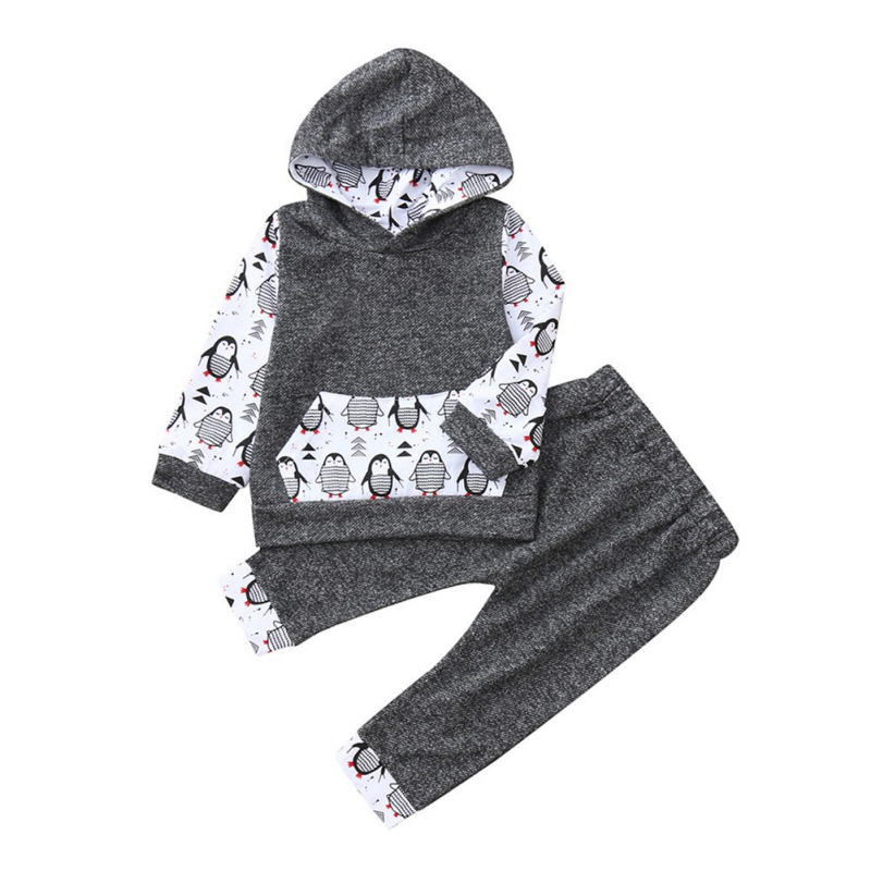 2019 2Pcs Baby Boy   Romper   Long Sleeve with Penguin Print Jumpsuit + Trousers Boys   Rompers   Spring Autumn Clothing