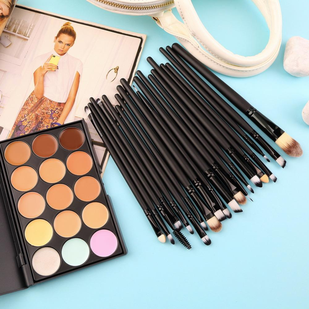 15 Colors Contour Face Cream Makeup Concealer Palette and 20 PCS Professional make up Power Brushes